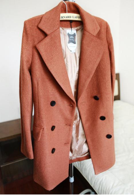 复古风 西装大翻领双排扣呢大衣