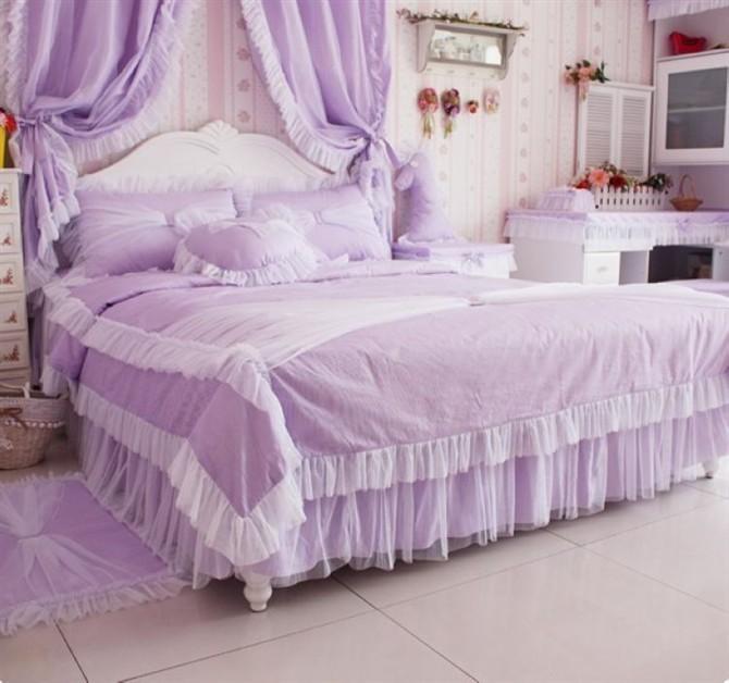 欧式床罩花边三件套