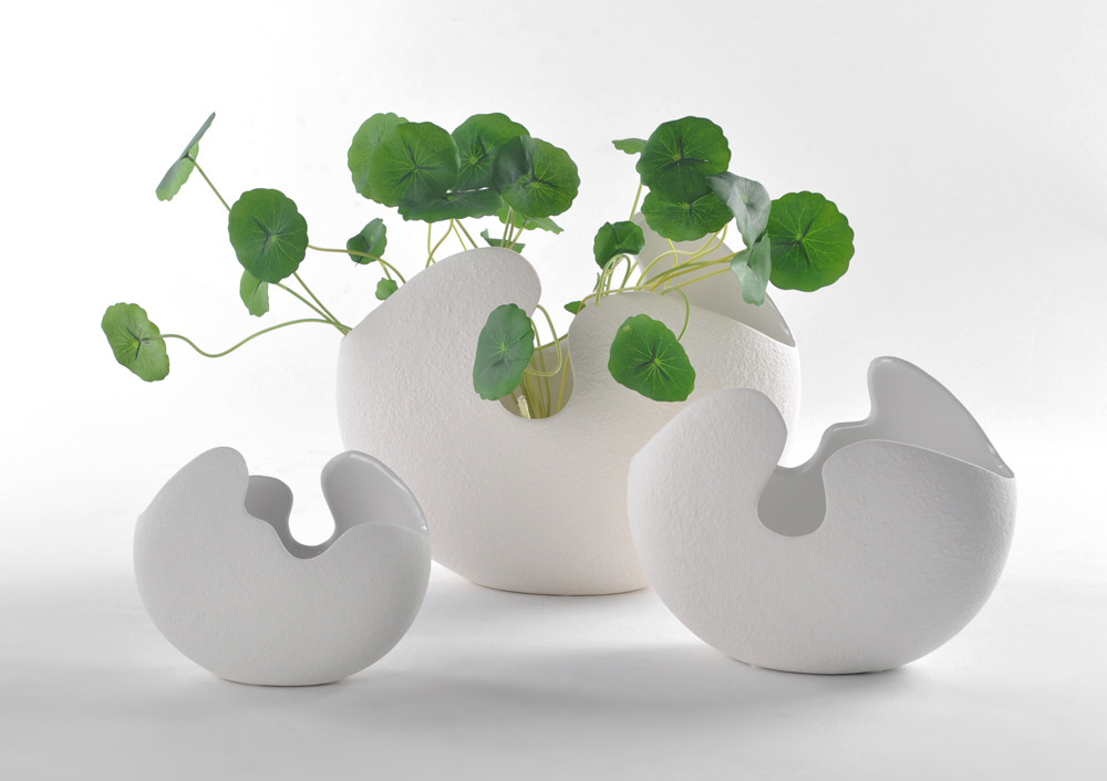 现代简约时尚陶瓷工艺品摆设小摆件 客厅电视柜 蛋壳花瓶白色