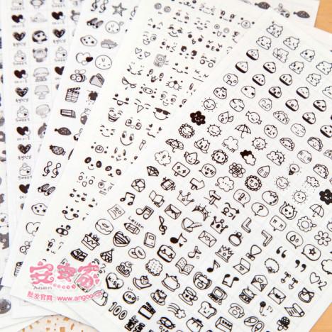 安安家 日记必备 韩国手绘风可爱贴纸 日记贴纸 卡通粘纸 黑白款