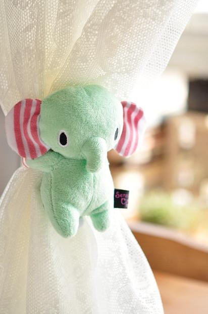 超可爱清新 萌小象 马戏团小象 薄荷小象 毛绒窗帘扣 单个价