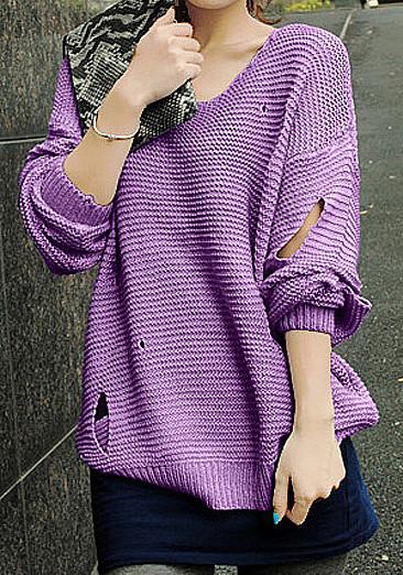 紫色套头毛衣搭配图片