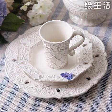 欧式贵族古典浮雕纹理陶瓷餐具套装马克杯碗盘
