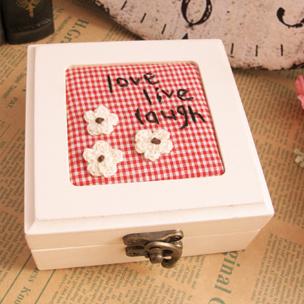 饰品戒指盒外贸手工刺绣木质首饰盒可爱戒指收纳盒化妆盒