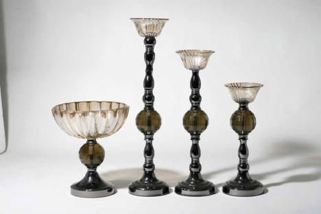 简约欧式现代经典罗马半圆大高烛台配水晶球