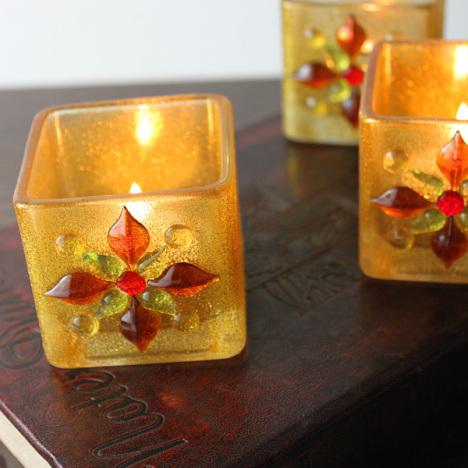 欧式金色6cm方杯镶珠花玻璃烛台浪漫家居酒吧西餐厅