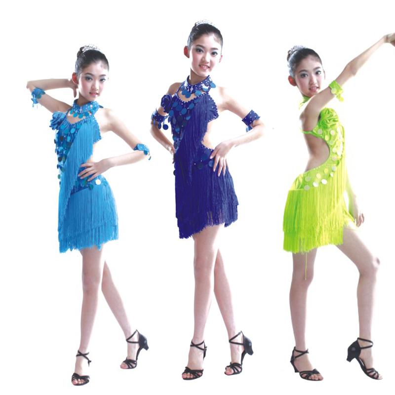 女童拉丁舞裙女儿童拉丁舞裙流苏少儿演出服装新款