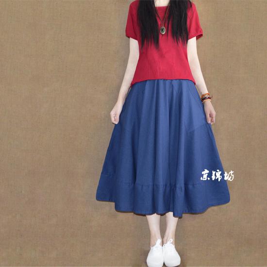 蓝色麻半身裙搭配图片