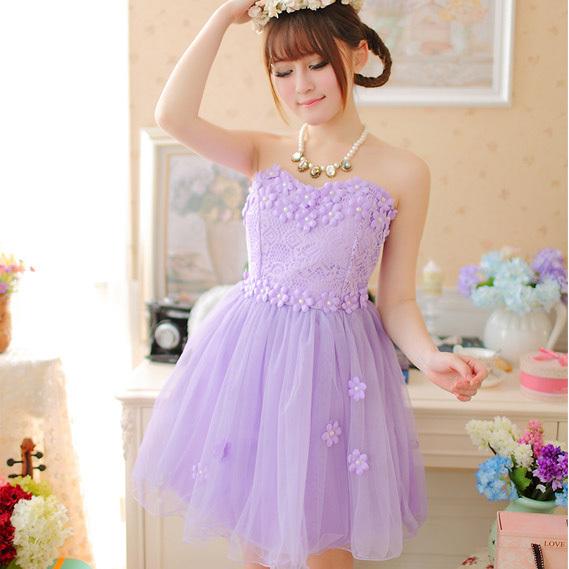 紫色蓬蓬礼服裙搭配