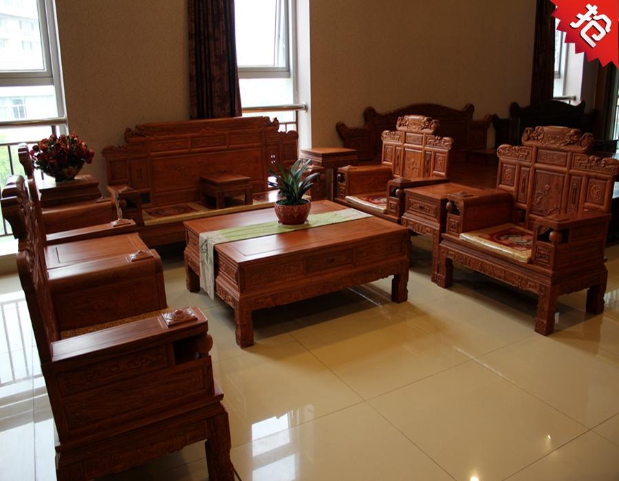 财源滚滚11件套沙发非洲花梨木沙发