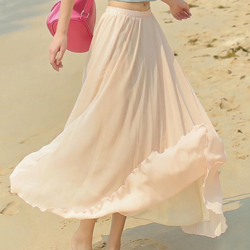 雪纺长裙夏显瘦搭配