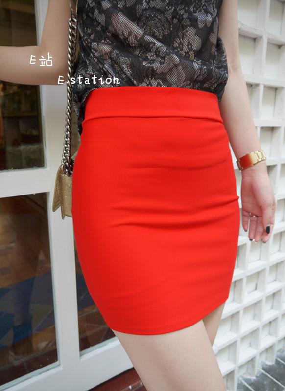 红色半身包裙搭配图片