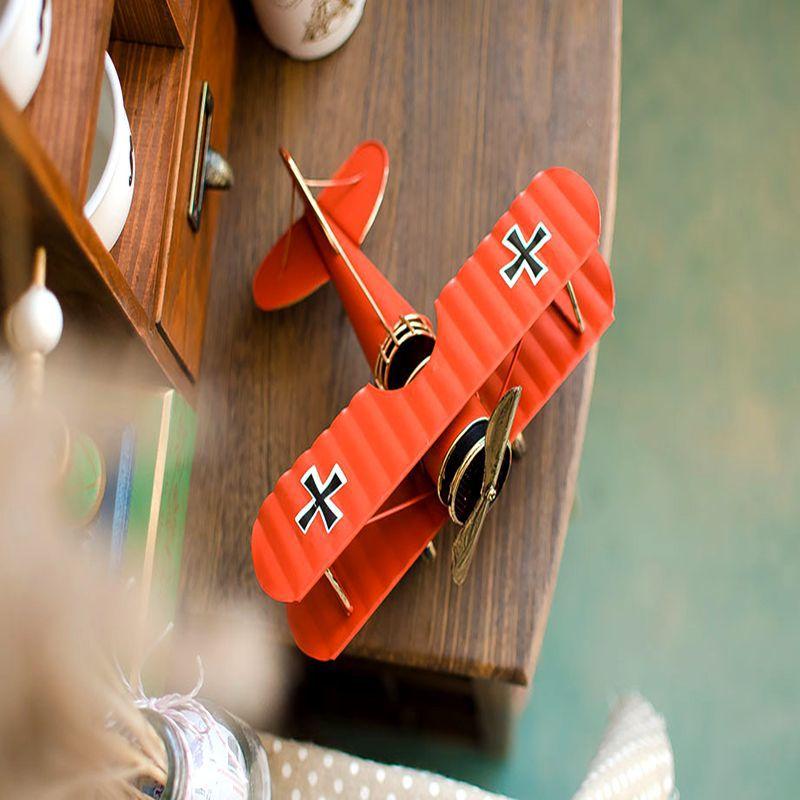 经典复古双翼彩绘铁皮飞机模型