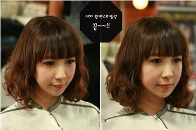 很俏皮可爱的中发蛋卷头哦,配上齐刘海更是修颜减龄.图片