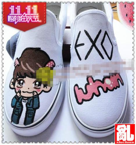 exo卡通人物系列涂鸦手绘鞋 exo手绘鞋一脚蹬懒人鞋 情侣鞋 亲子鞋 物