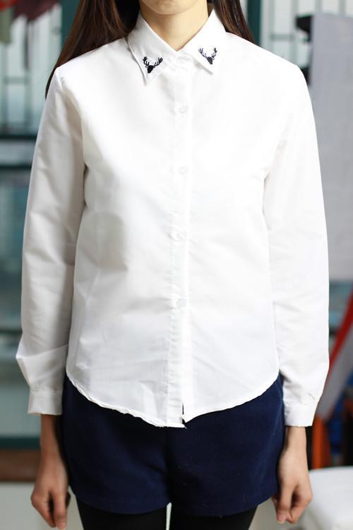 刺绣领子韩版白衬衫