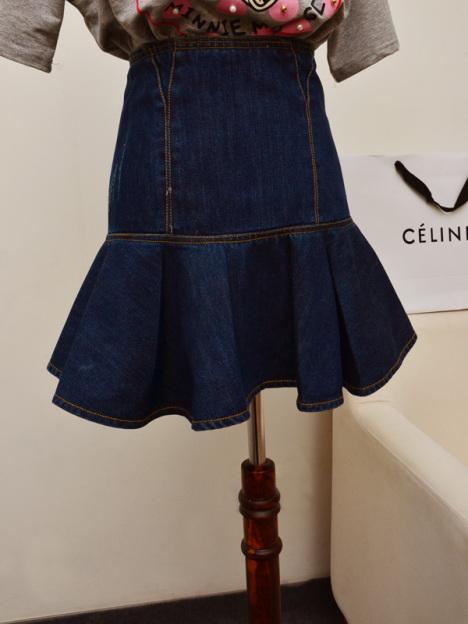 裙子,半身裙,顯瘦,牛仔,短裙,包臀,荷葉邊,魚尾,百搭,高腰,深藍圖片