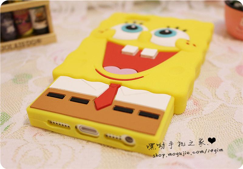 iphone5s海绵宝宝立体硅胶壳