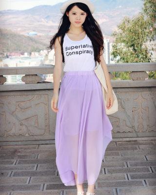香芋色裙搭配图片_香芋色裙怎么搭配