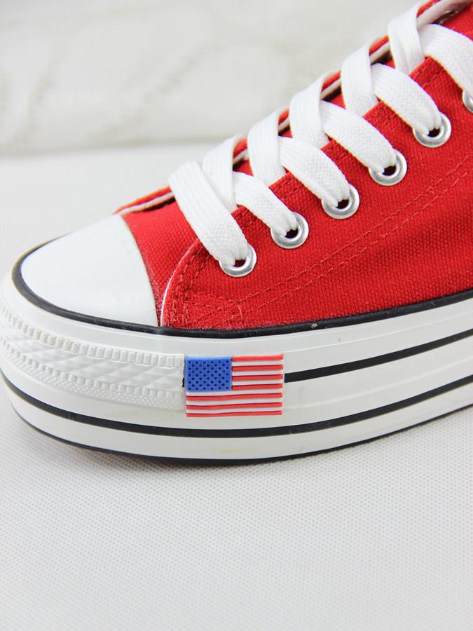 美国国旗图案底帮厚底帆布鞋