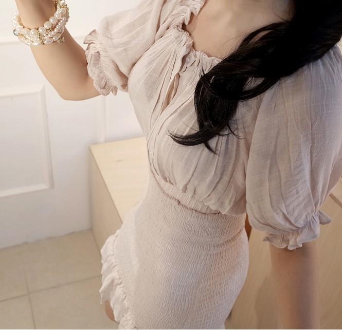 【一字领褶皱包臀木耳边连衣裙】-衣服-连衣裙