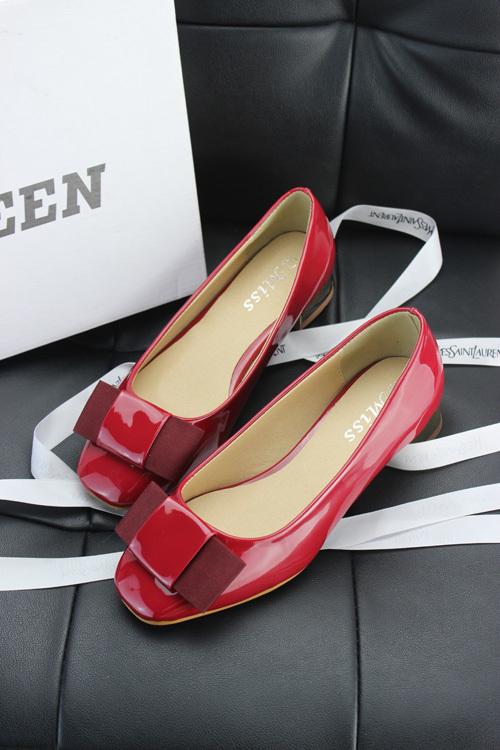 【甜美蝴蝶结漆皮小红鞋】-鞋子-单鞋