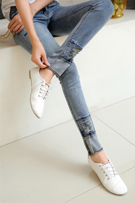 【图】韩国个性拉链毛边小脚牛仔裤搭配/价格