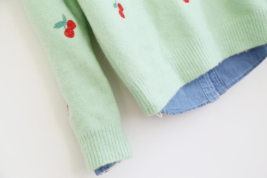 可爱樱桃毛衣-来自蘑菇街优店