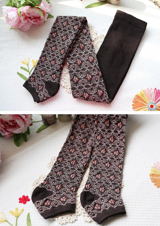 海藻棉蝴蝶花毛线针织打底踩脚袜