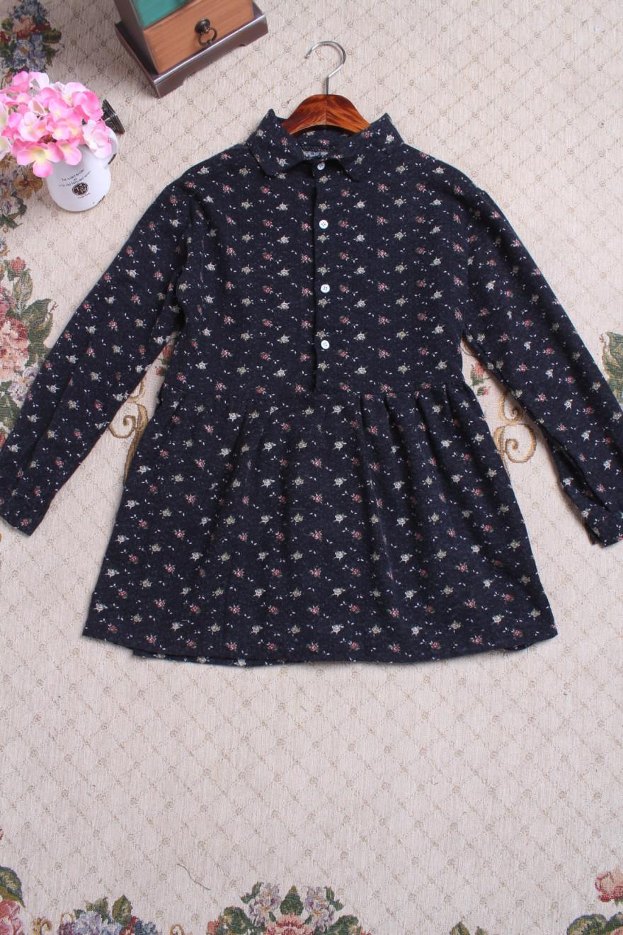 【韩版小花朵长袖连衣裙】-衣服-连衣裙