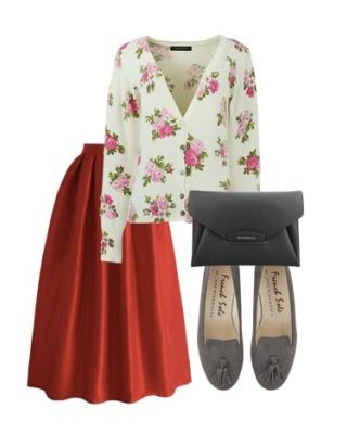 复古大红色半身裙搭配印花针织开衫