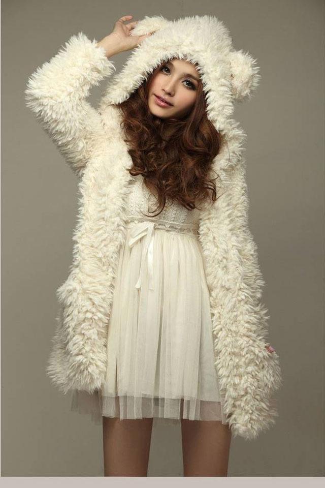 【图】甜美可爱小熊耳朵毛绒外套搭配/价格-大大跑跑