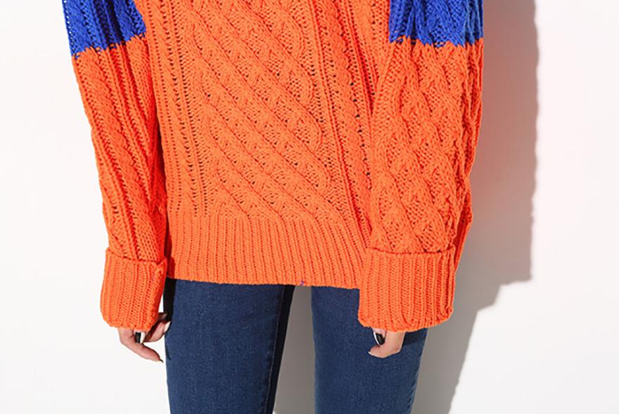 菱形麻花编织撞色毛衣