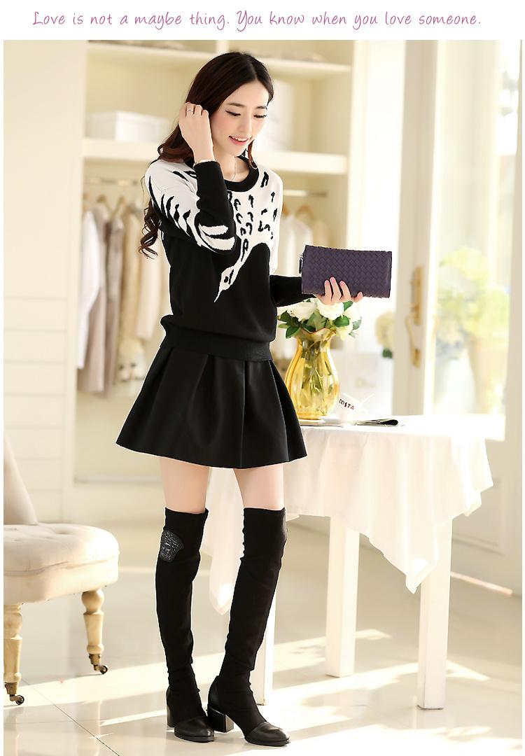 黑白丹顶鹤毛衣 加厚半身裙子