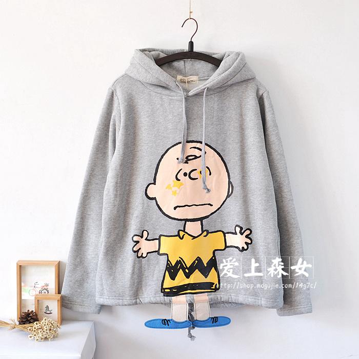 【三毛小脚丫可爱抓绒带帽卫衣】-衣服-卫衣/绒衫