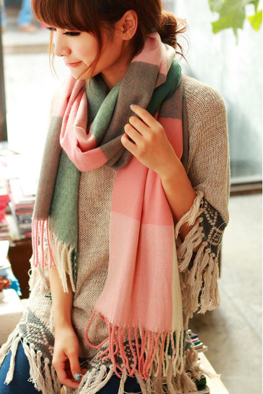 【图】超长韩版格子流苏毛线围巾披肩搭配/价格-爱心