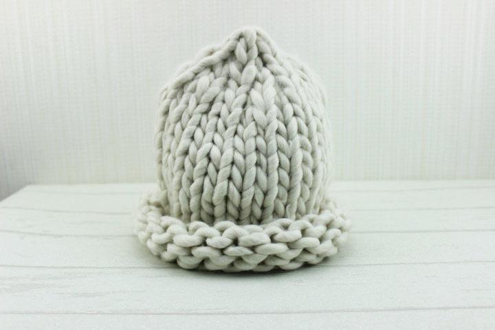 手工粗棒针编织毛线帽