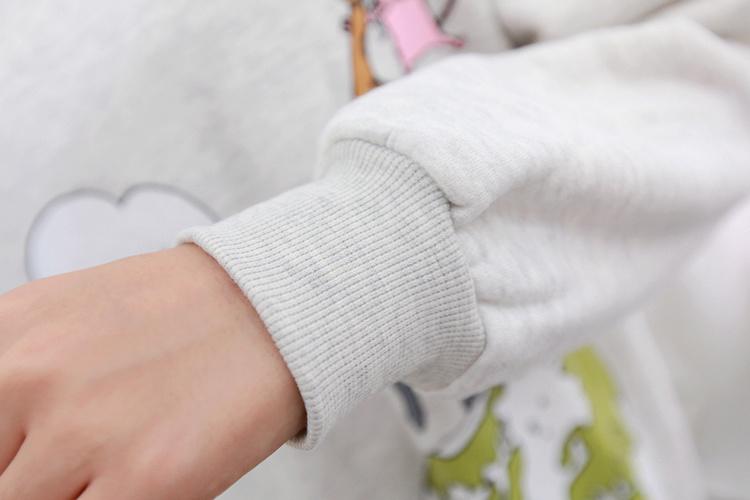 韩版可爱动物世界印花抓绒卫衣
