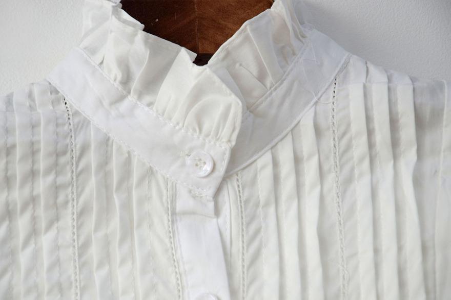 欧式宫廷复古花边立领中长款衬衫