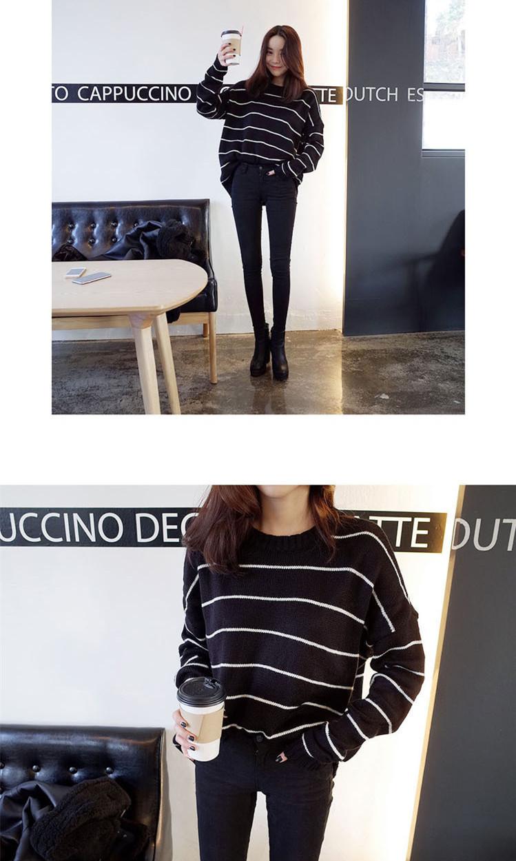 【韩国经典黑白条纹毛衣】-衣服-其他毛衣