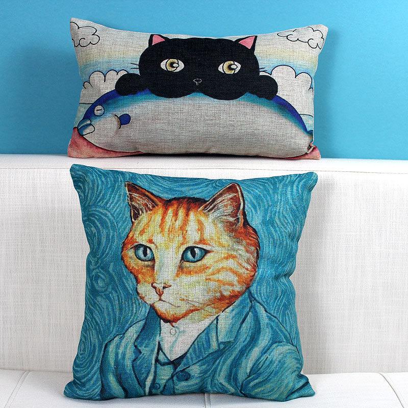 创意手绘可爱猫先生靠垫抱枕腰枕