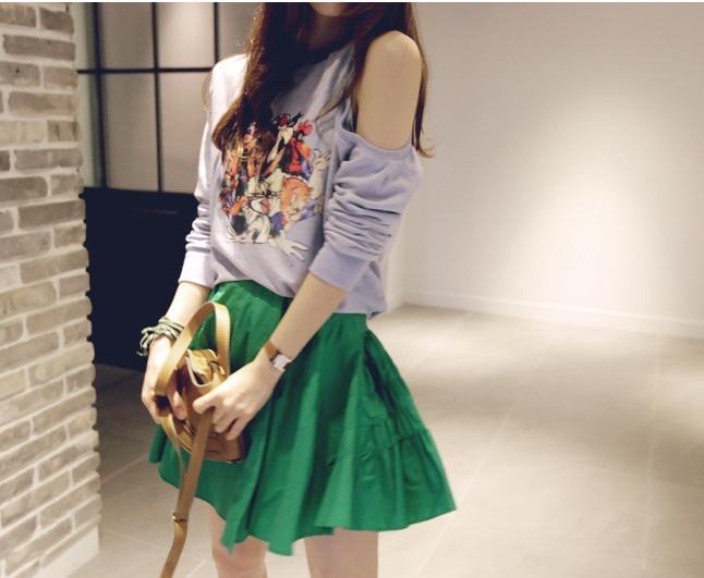 【新款韩版绿色褶皱蓬蓬裙】-衣服-半身裙