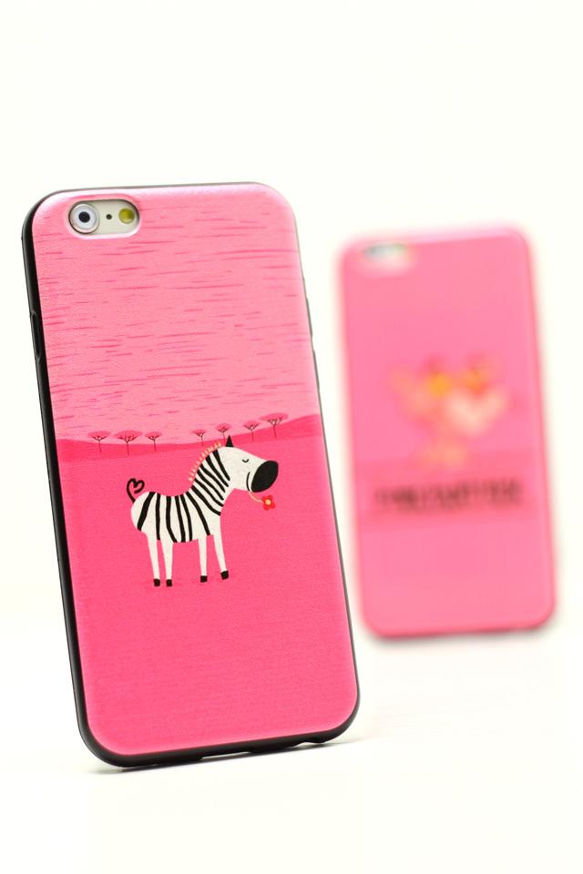 可爱斑马粉红豹苹果蚕丝纹手机壳