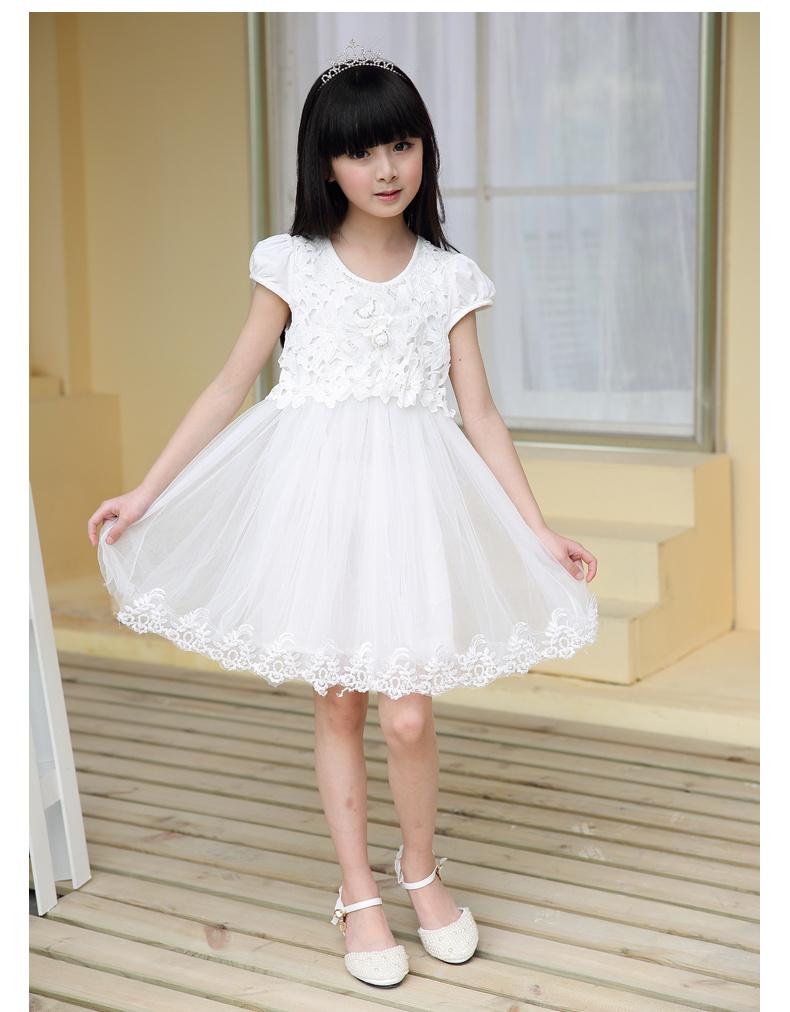 女童夏装纯棉蕾丝短袖连衣裙