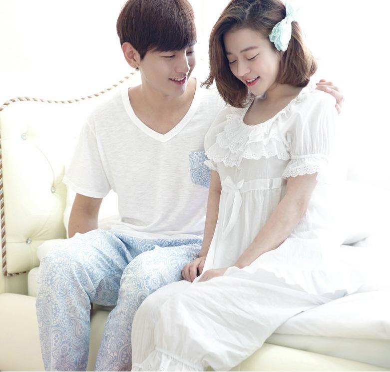 韓國新品夏季情侶裝居家睡衣圖片