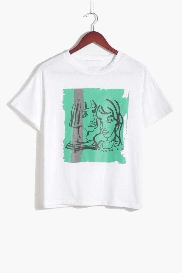 复古板画手绘风格,女孩印花t恤,黑白灰三色百搭t,宽松休闲,纯棉好质量