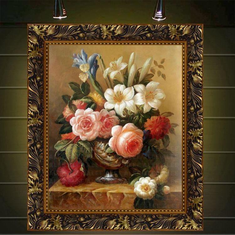 纯手绘油画欧式客厅装饰抽象风景壁画古典花卉餐厅挂画玄关有框画