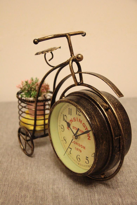 复古欧式自行车时钟花架