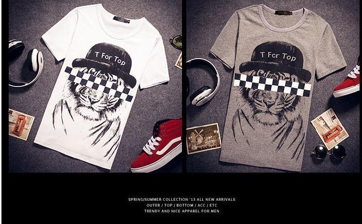 【新款黑白格老虎头情侣短袖t】-衣服-t恤