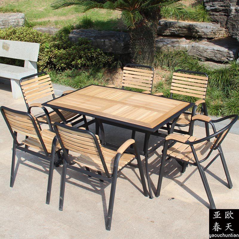 户外实木桌椅伞家具庭院阳台咖啡厅休闲桌椅套装欧式铁艺桌椅组合